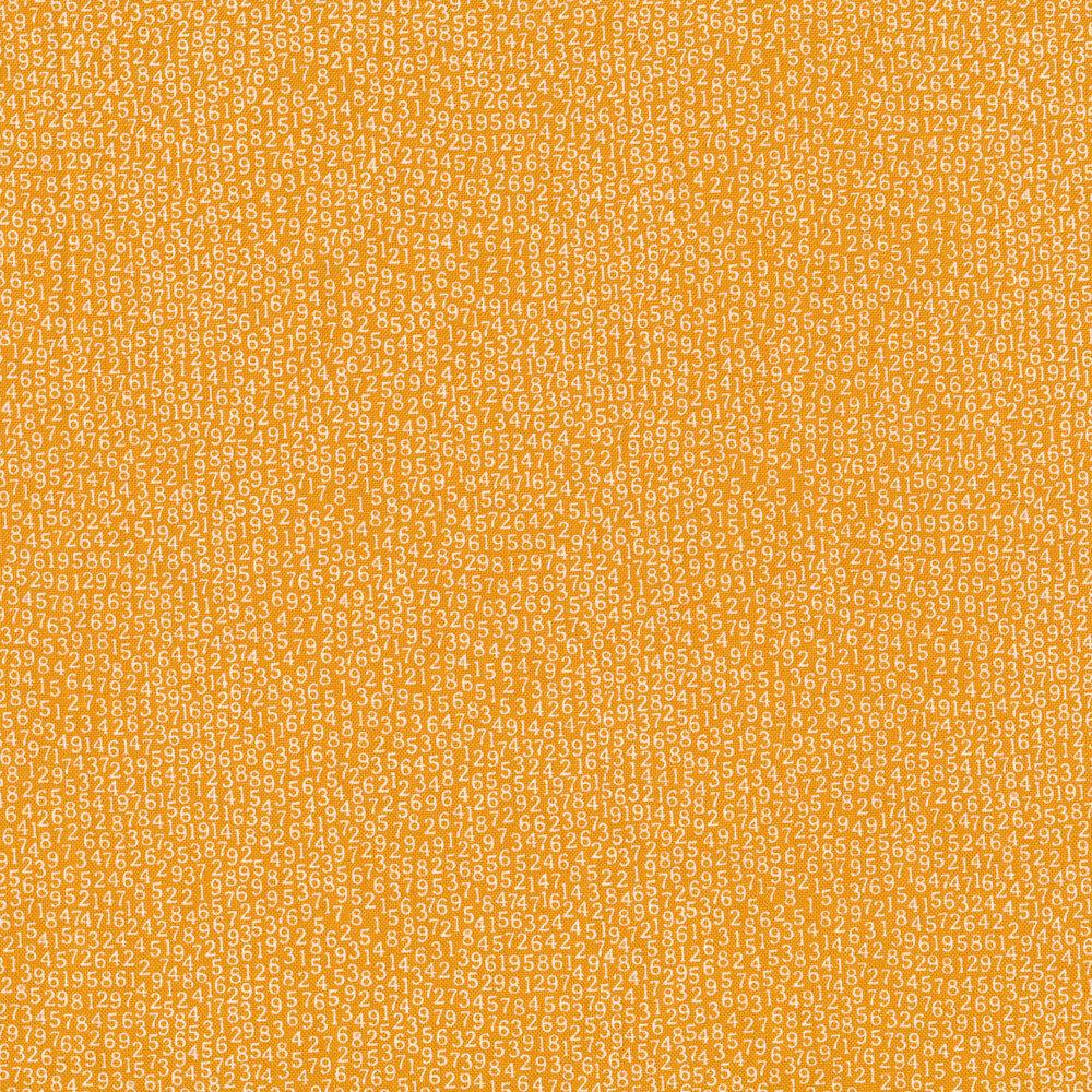 White tossed numbers on orange | Shabby Fabrics