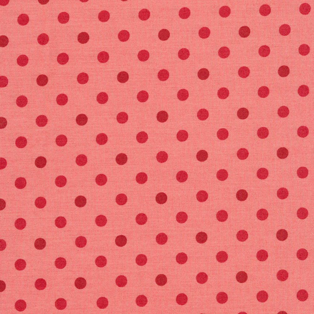 Red/pink polka dots on pink | Shabby Fabrics