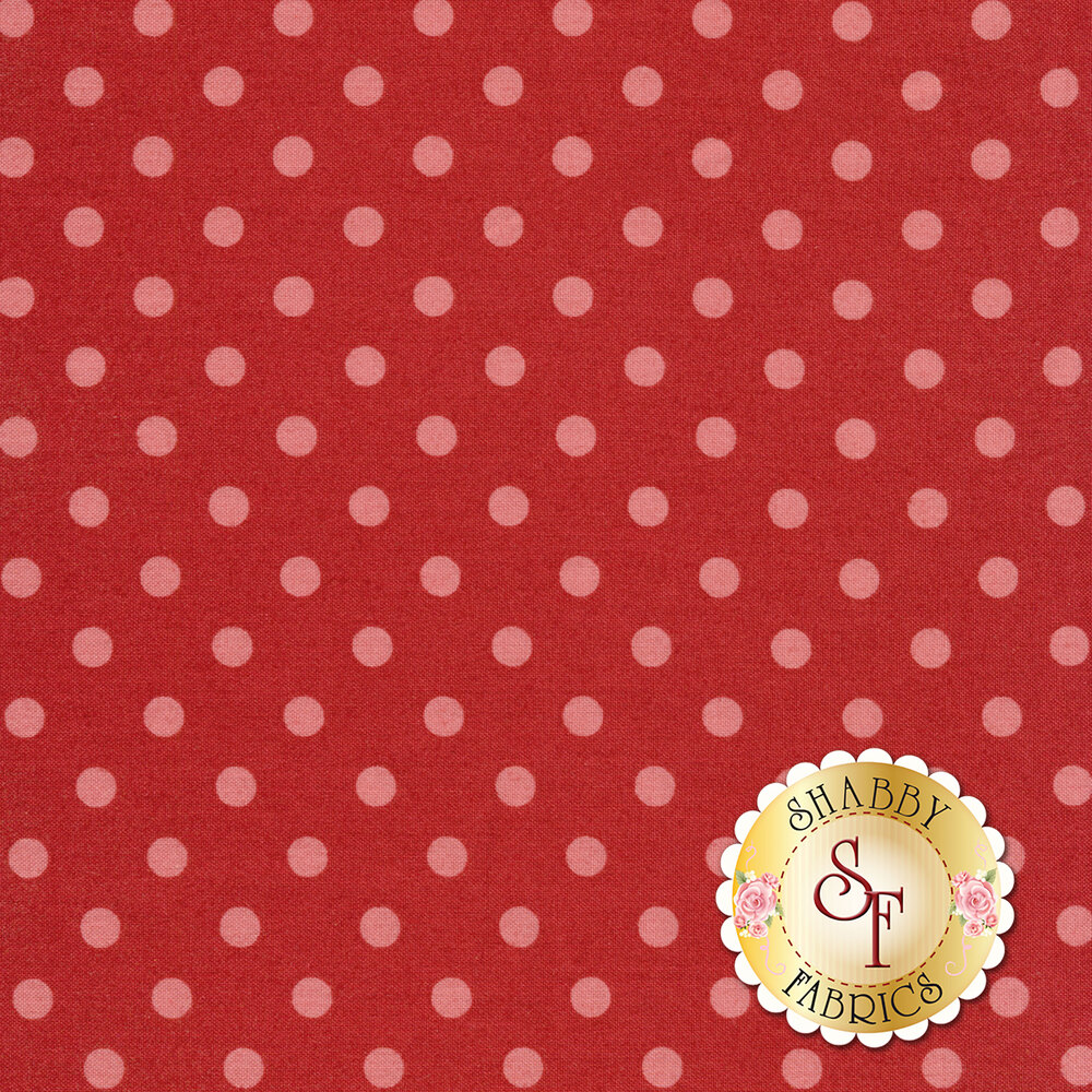 Light red dots on a dark red background | Shabby Fabrics