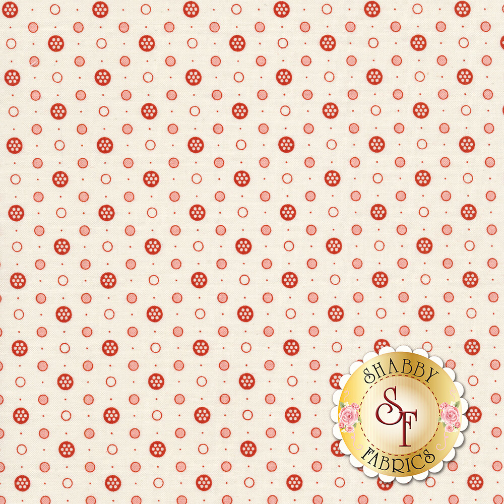 Red and pink dots on a cream background | Shabby Fabrics