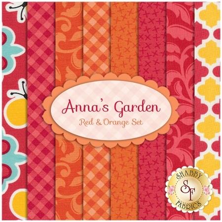 Anna's Garden  8 FQ Set - Red & Orange Set by Patrick Lose Fabrics