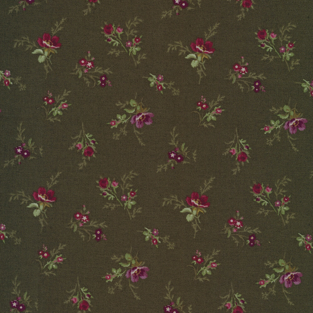 Tossed florals all over green   Shabby Fabrics
