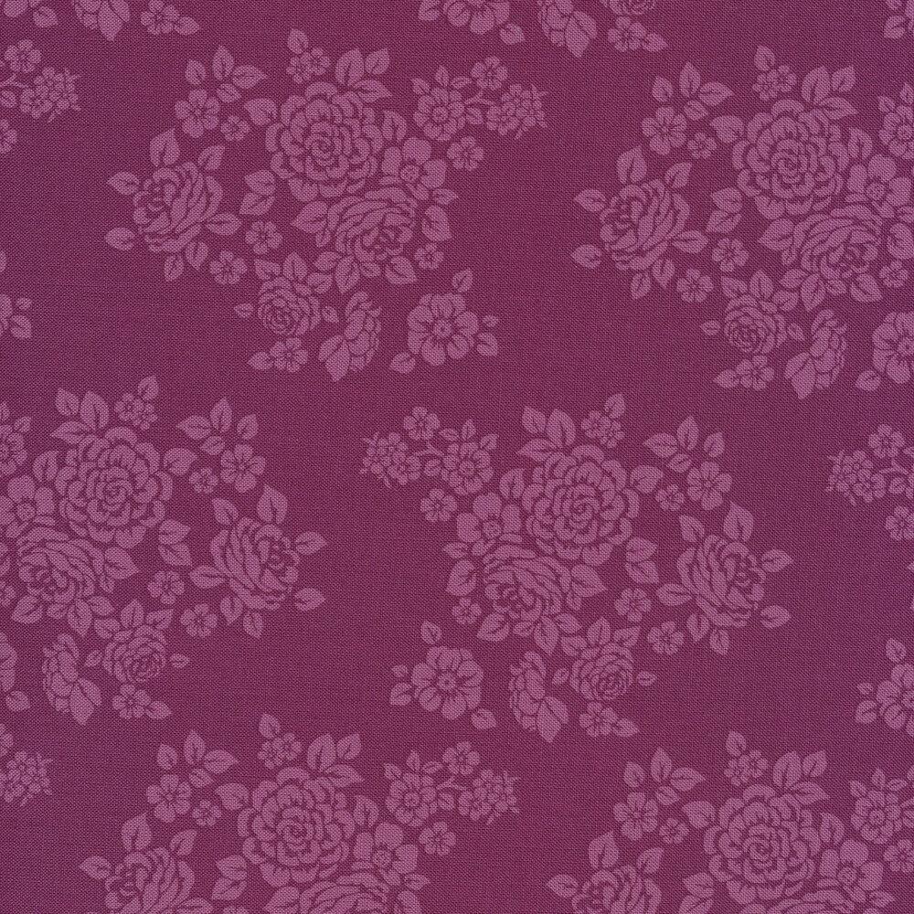 Tonal purple tossed floral | Shabby Fabrics