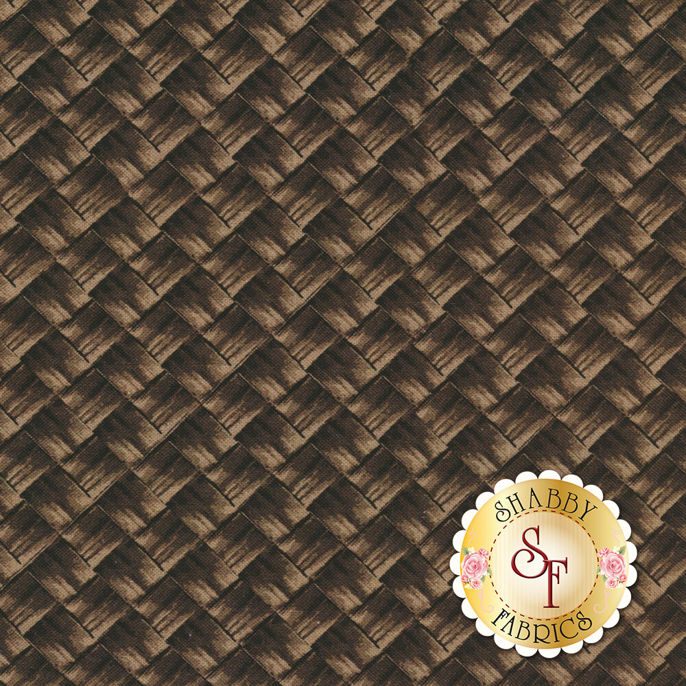 Apple Gala 8855-39 Gala Basket Weave Chestnut by Benartex Fabrics