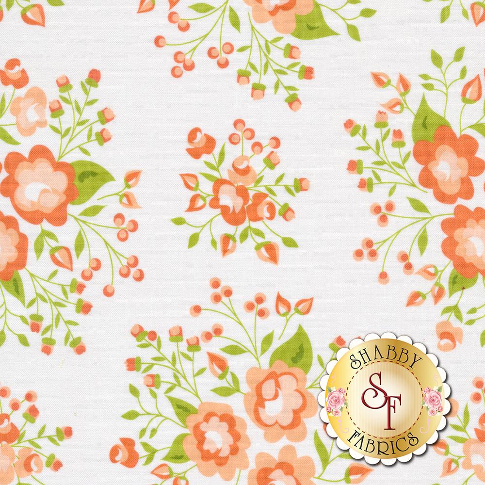 Peach flowers on a white background | Shabby Fabrics