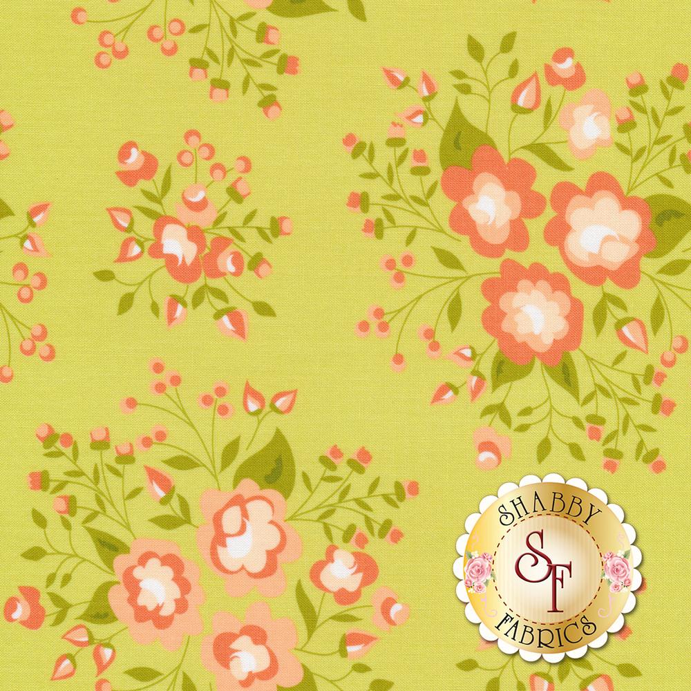 Peach flowers on a green background   Shabby Fabrics