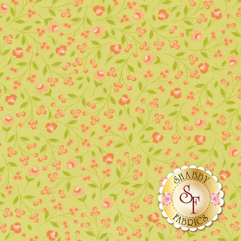 Peach flower and leaves on a light green background | Shabby Fabrics