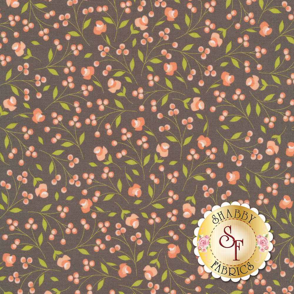 Peach flower and leaves on a gray background | Shabby Fabrics