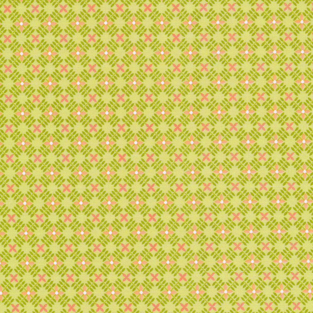 Green stripes in diamond pattern with peach flowers on lime | Shabby Fabrics