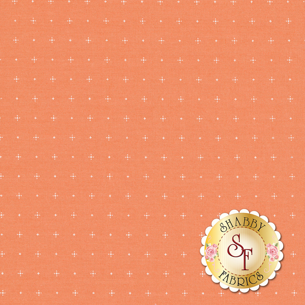 Dot and plus print on coral | Shabby Fabrics