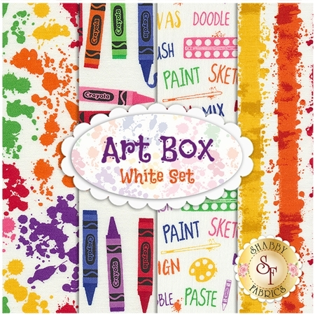 Art Box  4 FQ Set - White Set by Crayola for Riley Blake Designs