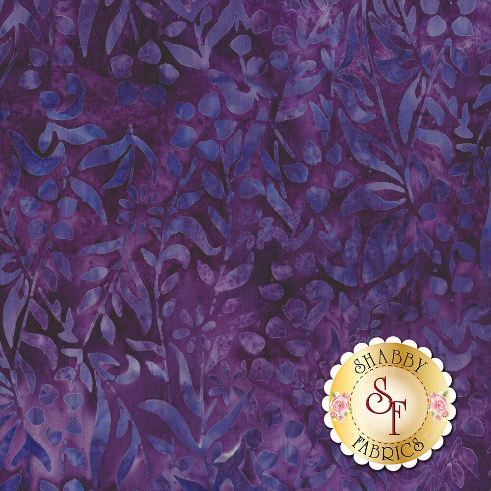 Violet floral vine design on mottled purple batik | Shabby Fabrics