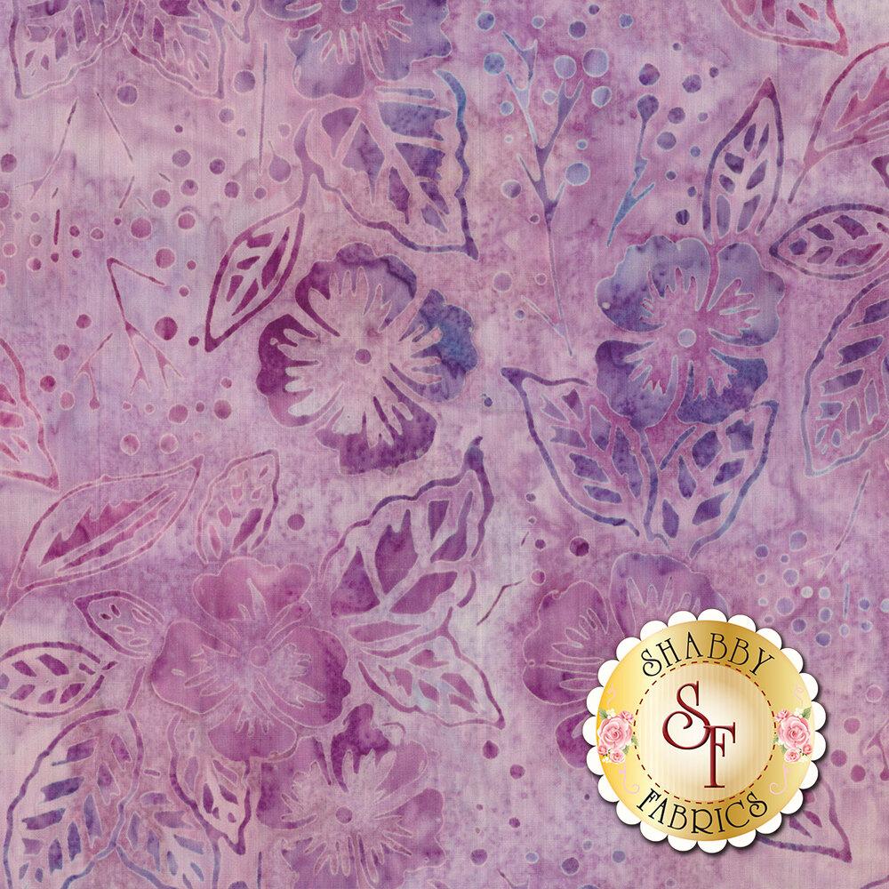 Tonal light purple floral design on mottled batik | Shabby Fabrics
