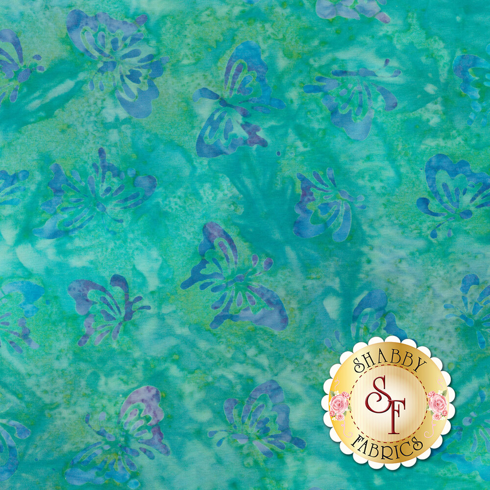 Blue butterflies all over mottled teal batik | Shabby Fabrics