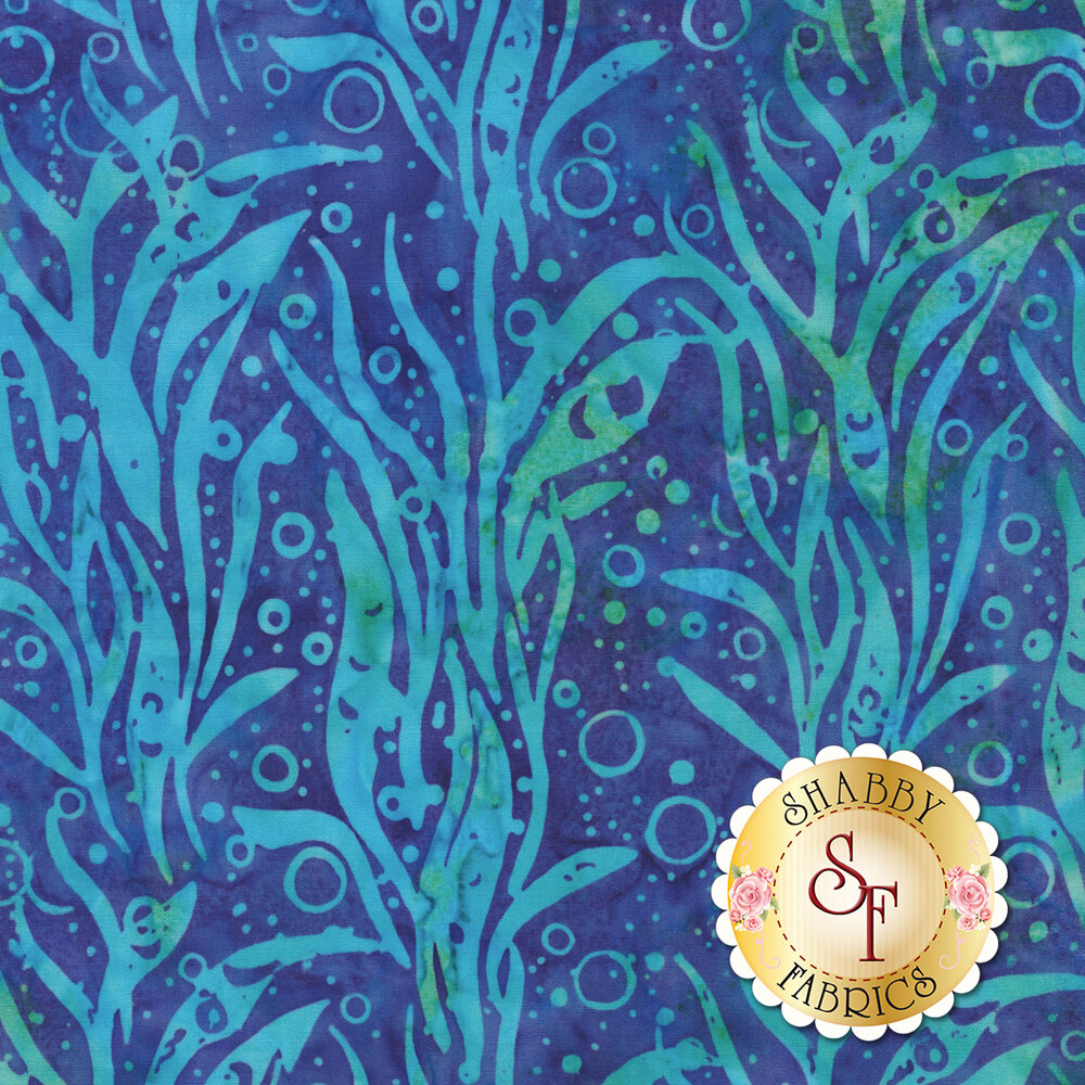 Teal seaweed design on blue | Shabby Fabrics