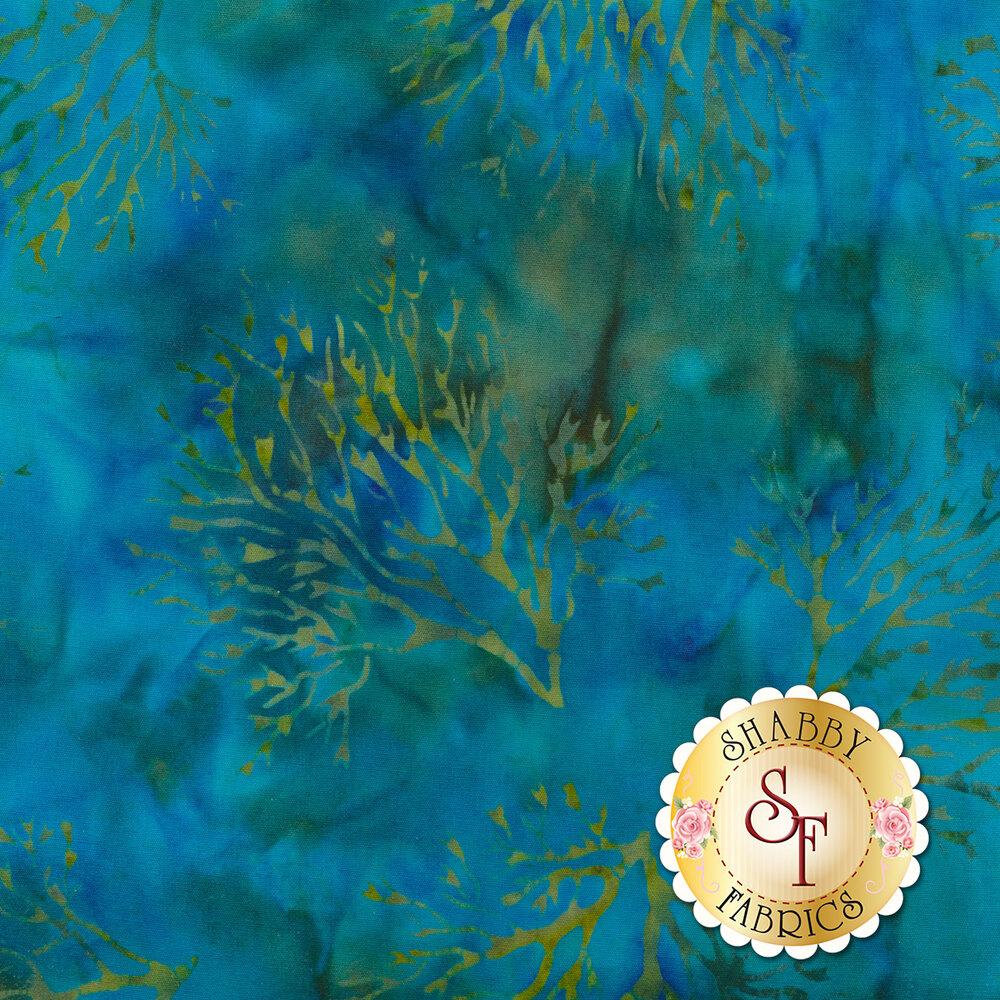 Mottled blue/green batik with seaweed | Shabby Fabrics
