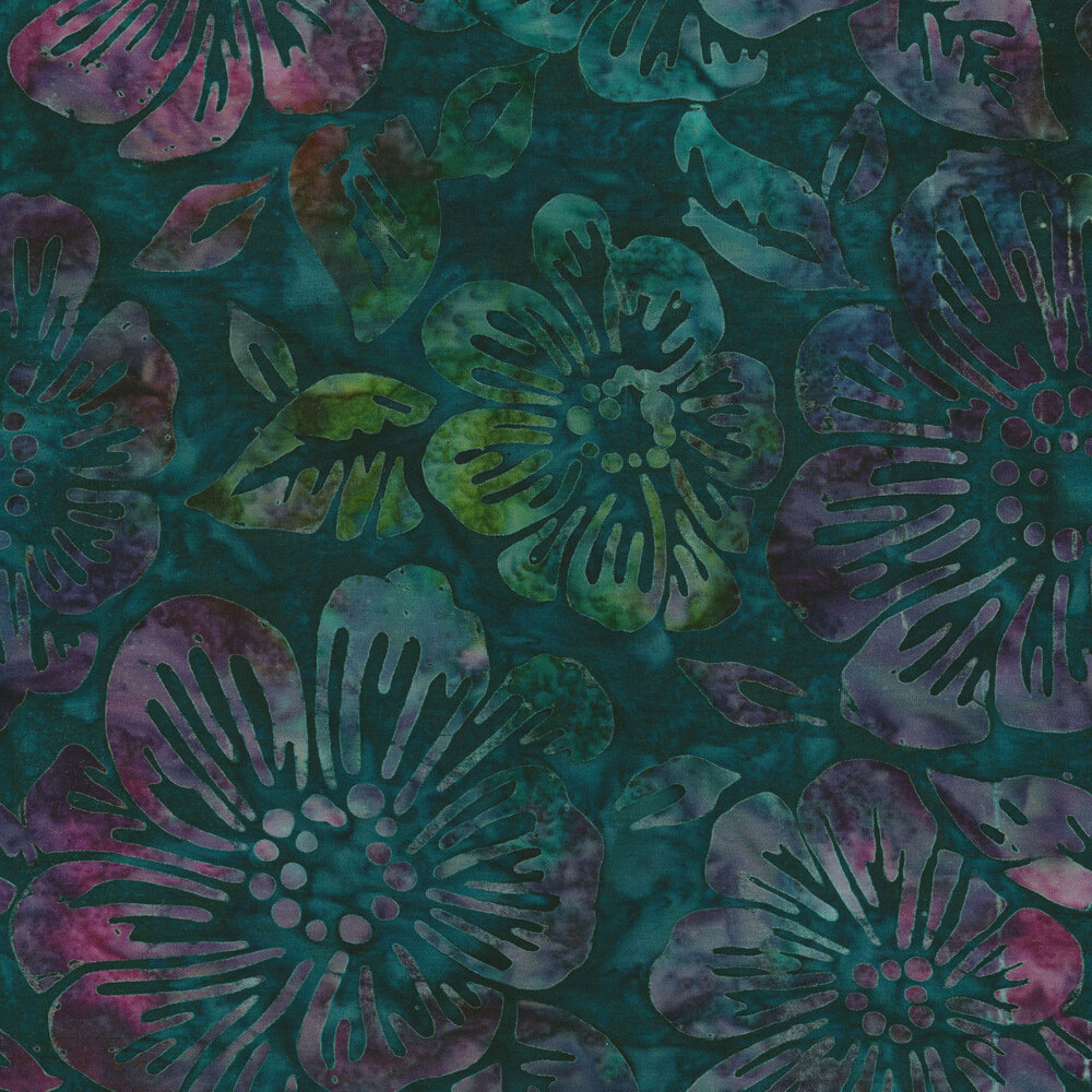 Multicolor batik with flowers layered with green | Shabby Fabrics