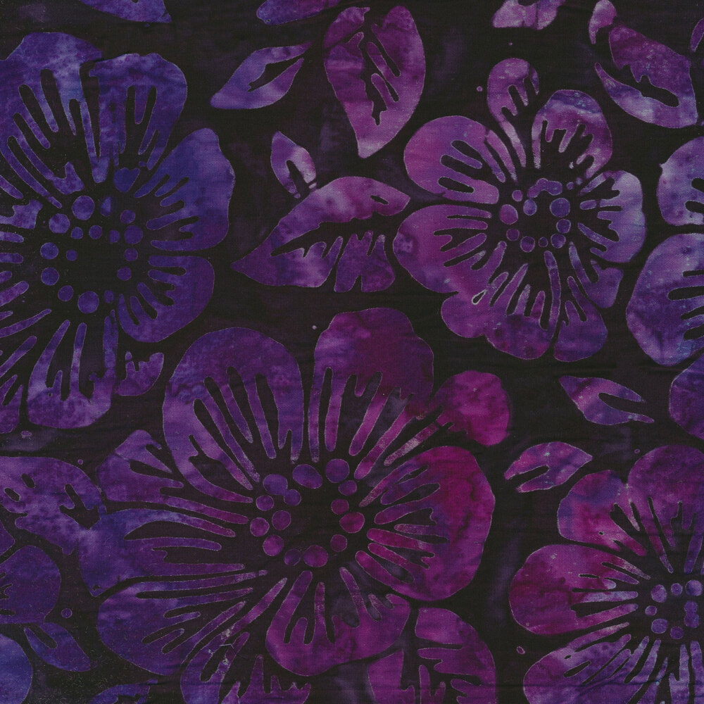 Purple batik with flowers | Shabby Fabrics