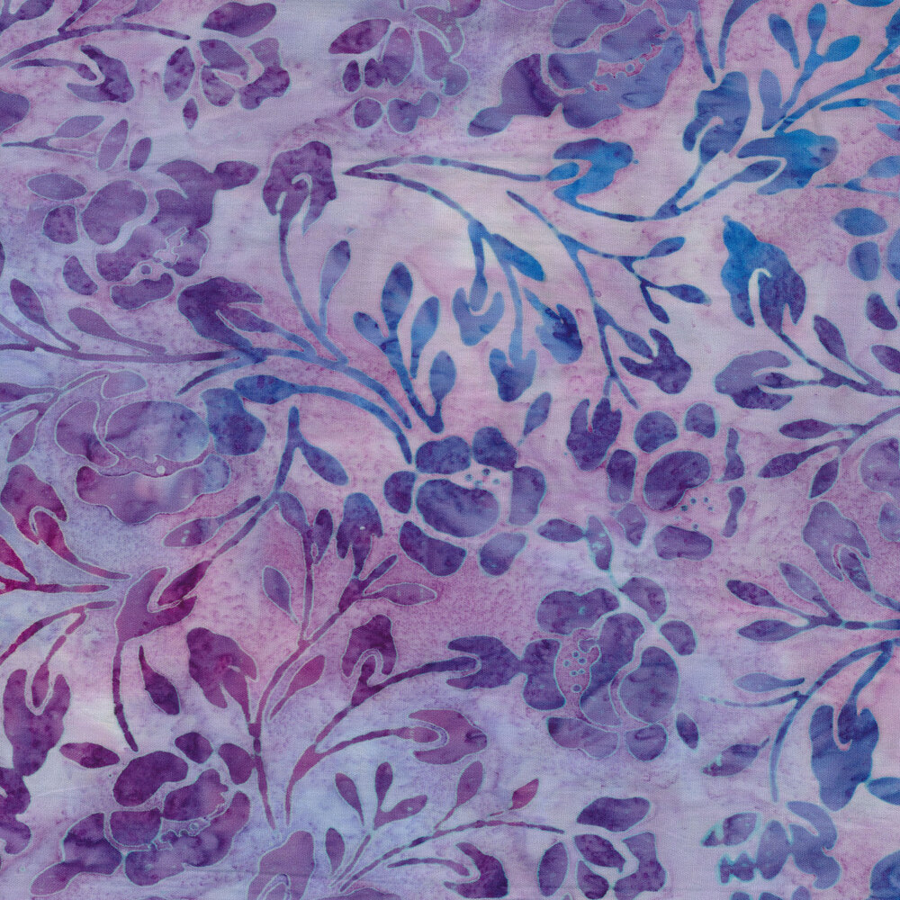 Purple and blue batik flowers and vines layered with light purple | Shabby Fabrics
