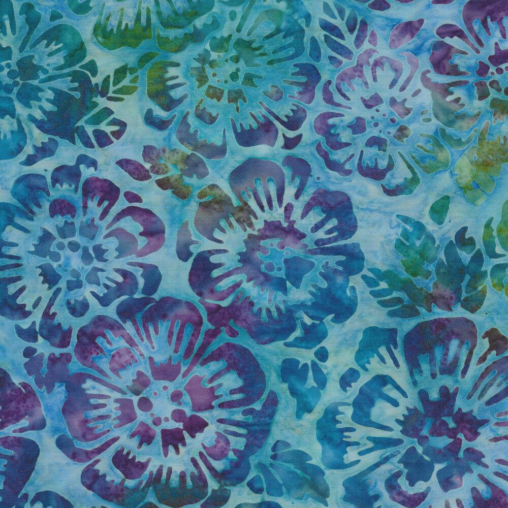 Multi color batik flowers layered with aqua | Shabby Fabrics