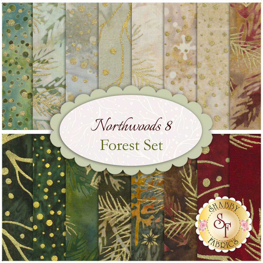 A collage of fabrics included in the Northwoods 8 Forest Set Fat Quarters