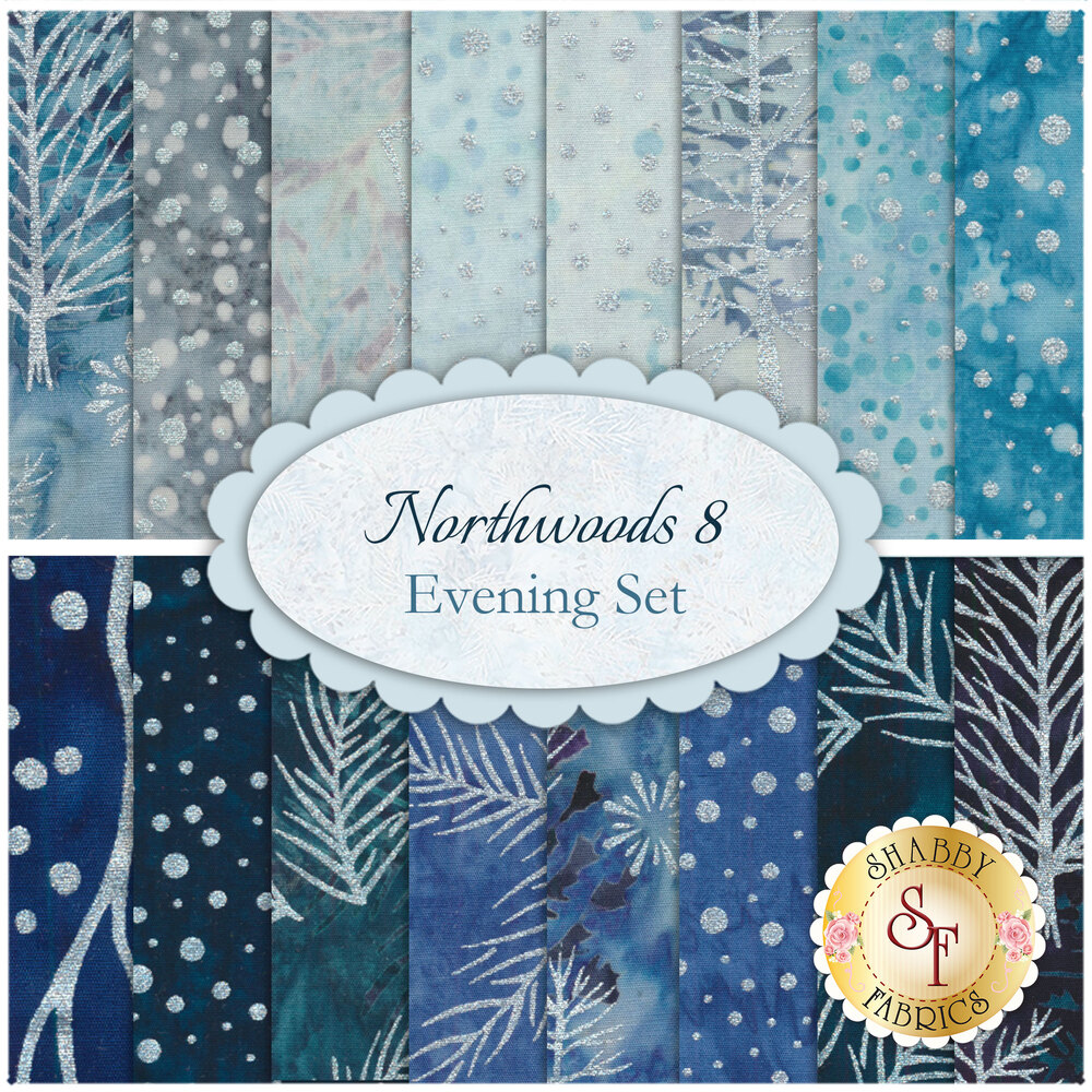 A collage of fabrics included in the Northwoods 8 - Winter Frost fat quarter set.
