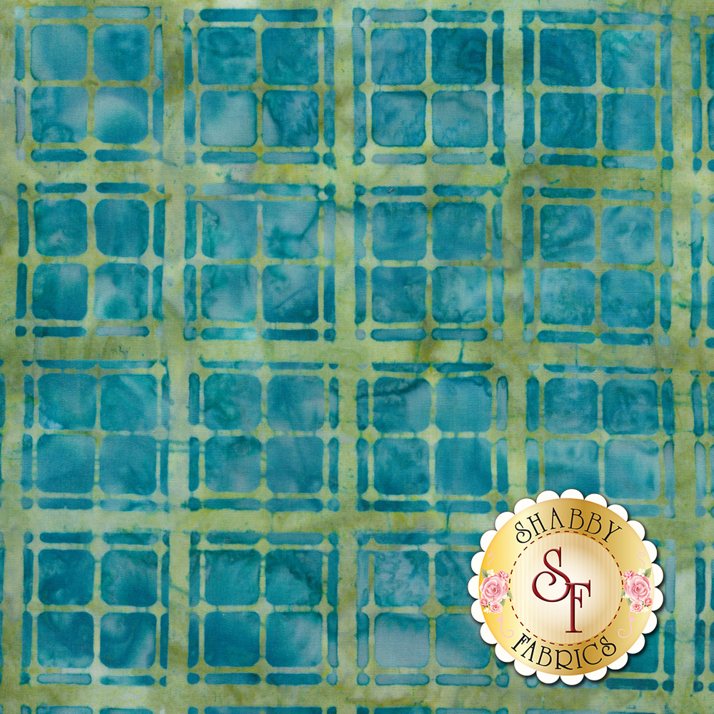 Turquoise checkered plaid design on teal batik | Shabby Fabrics