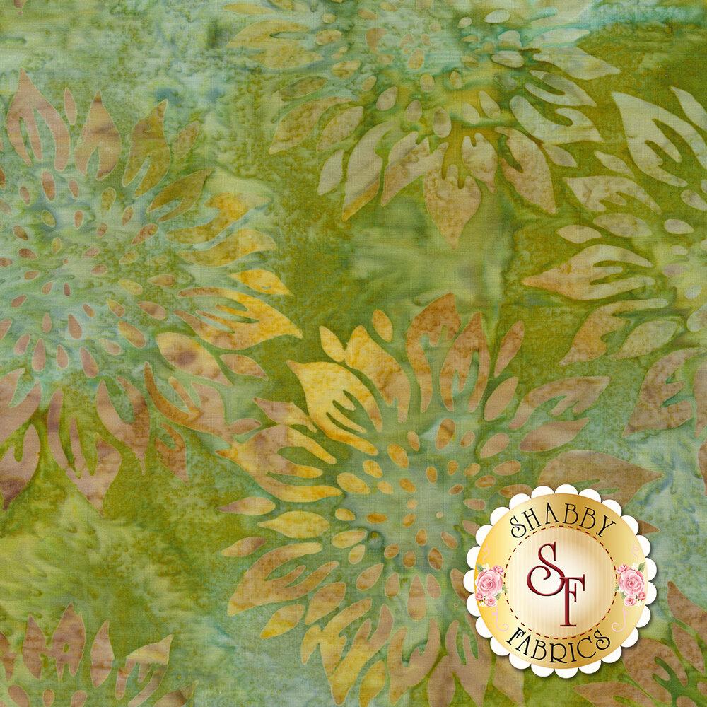 Yellow sunflower design on mottled green batik | Shabby Fabrics