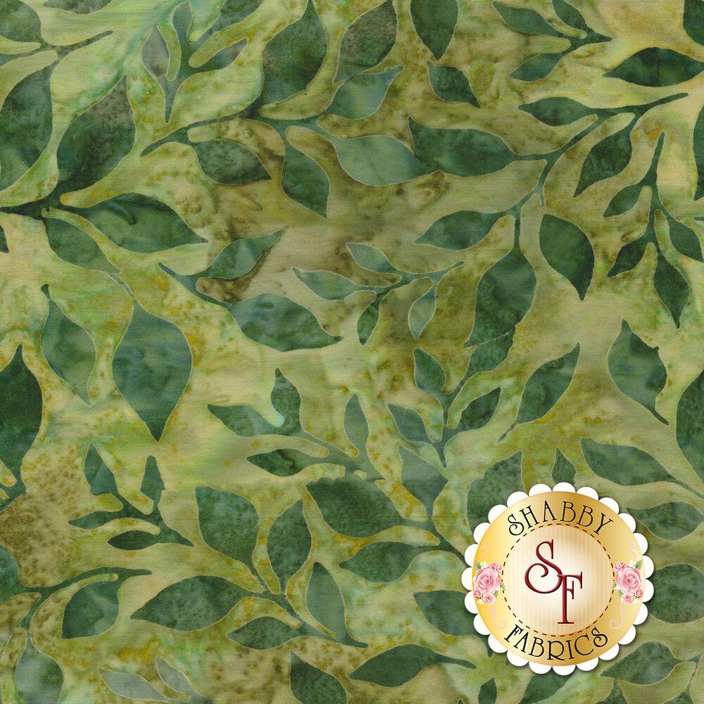 Green leaves all over mottled light green batik | Shabby Fabrics