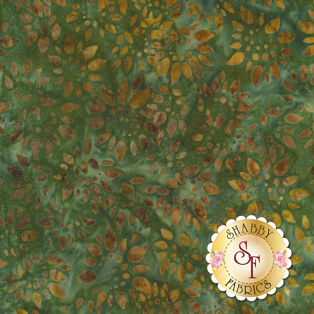 Dark orange sunflower design all over green batik   Shabby Fabrics