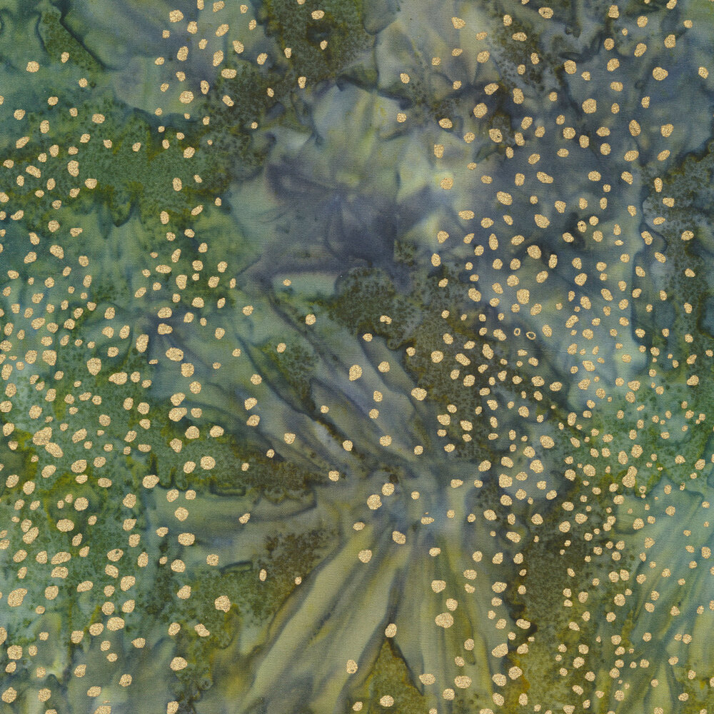 Mottled and marbled green and blue background with metallic gold dot accents | Shabby Fabrics
