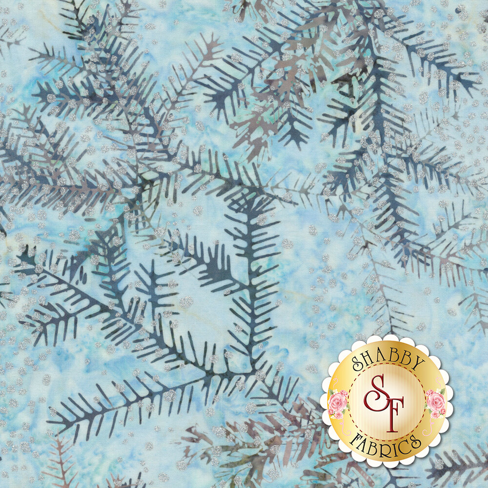 Small silver dots on a mottled blue background with sprigs | Shabby Fabrics