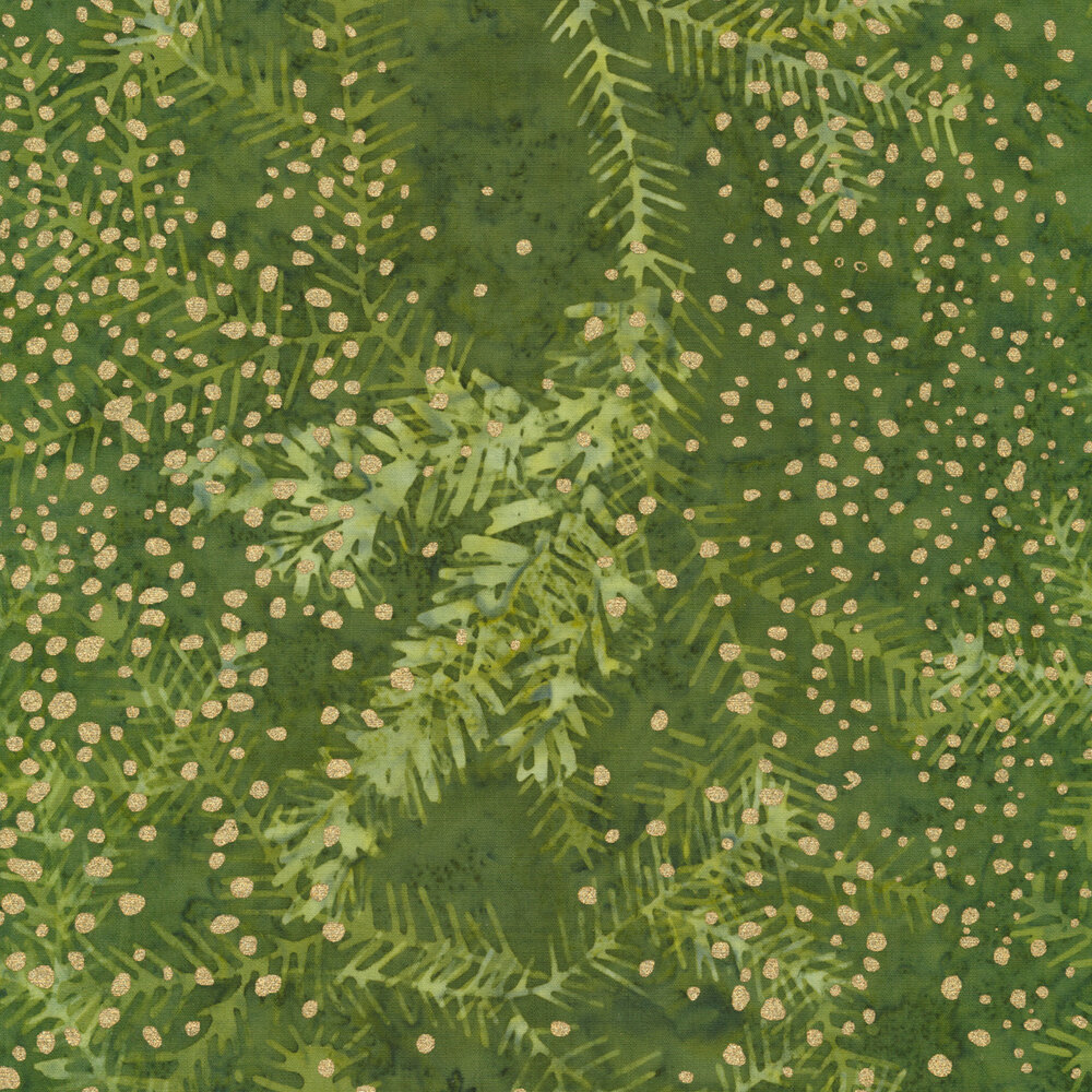 Small gold dots on a mottled green background with sprigs | Shabby Fabrics