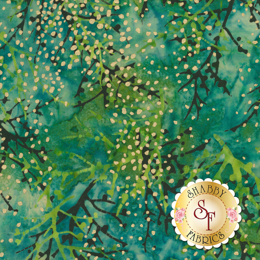 Gold metallic spots on a turquoise background with multi colored sprigs   Shabby Fabrics