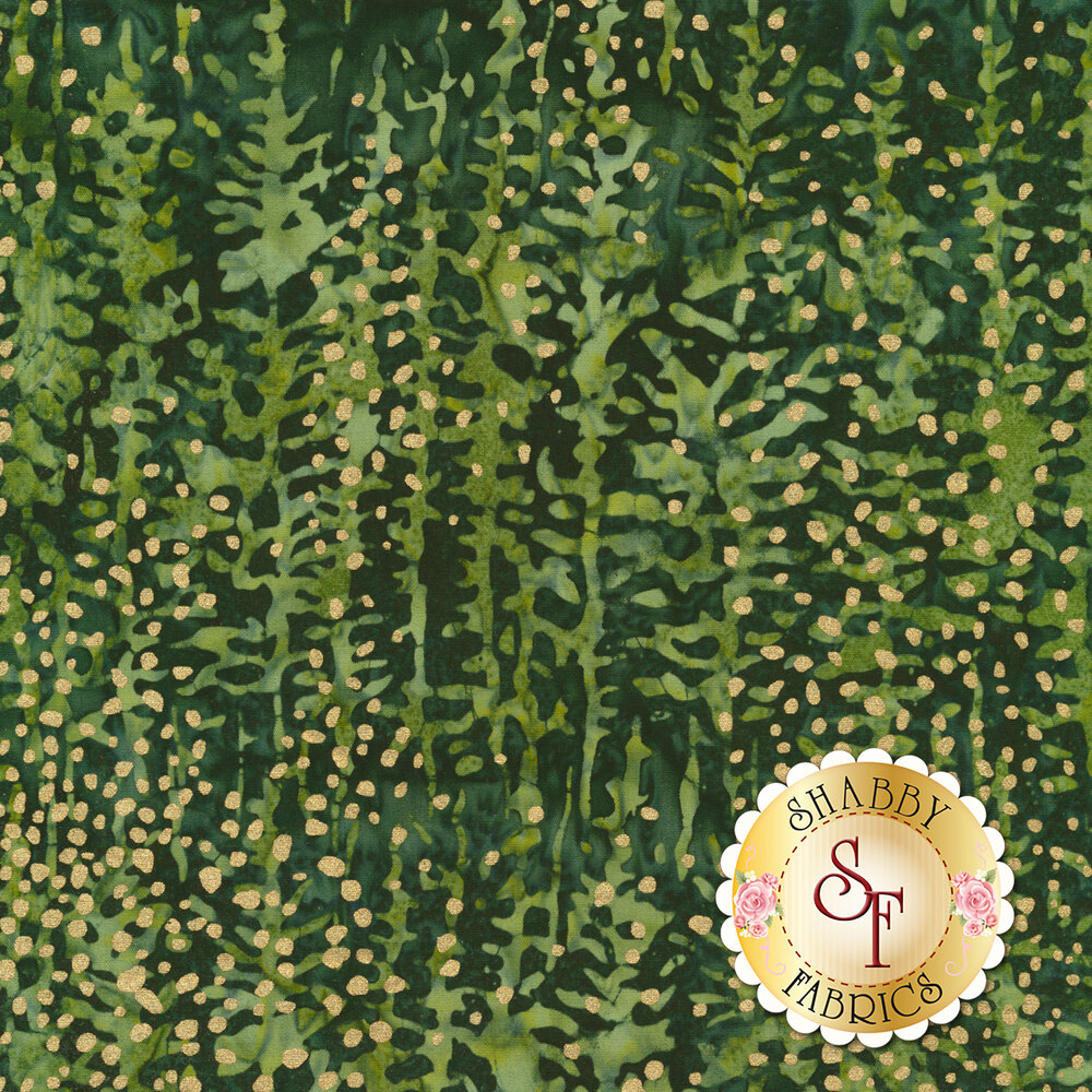 Gold metallic spots on a tonal green mottled background | Shabby Fabrics