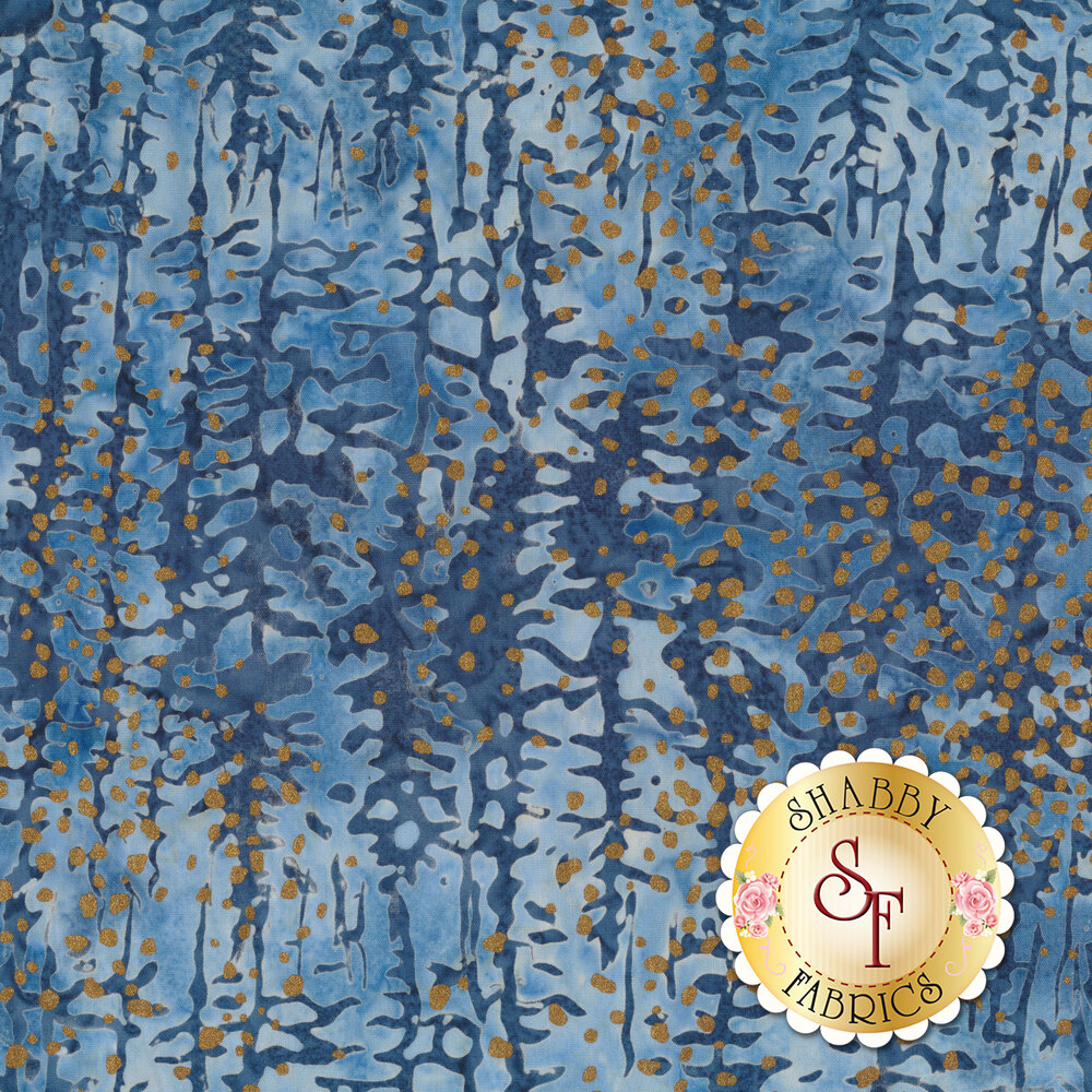 Gold metallic spots on a blue and light blue mottled background | Shabby Fabrics