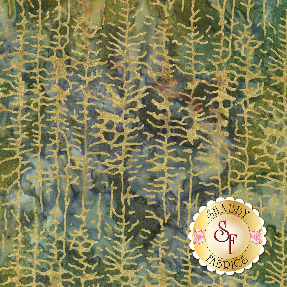 Gold metallic trees on a blue and green marbled background | Shabby Fabrics