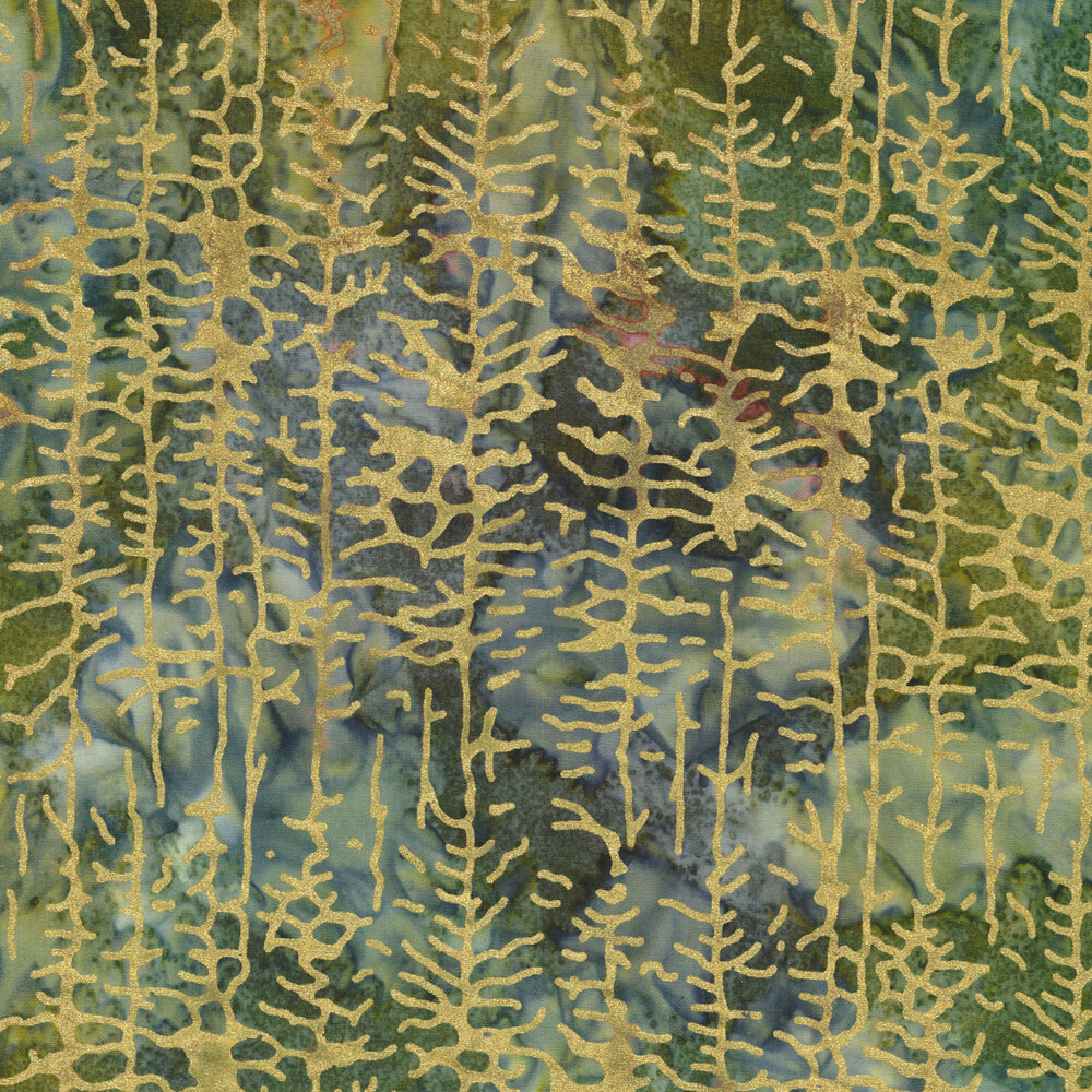 Gold metallic trees on a blue and green marbled background   Shabby Fabrics