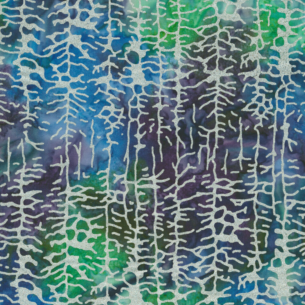 Silver metallic trees on a multi colored mottled background | Shabby Fabrics