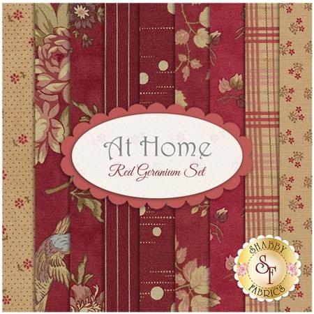 At Home  9 FQ Set - Red Geranium Set by Blackbird Designs for Moda Fabrics