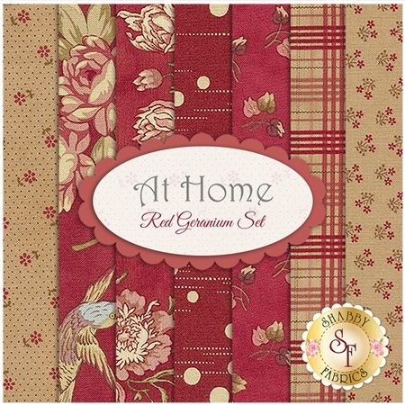 At Home  7 FQ Set - Red Geranium Set by Blackbird Designs for Moda Fabrics