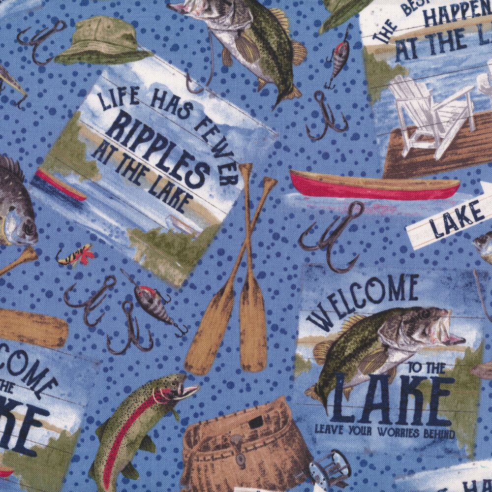 Fish, fishing signs, and lures on a blue dotted background  | Shabby Fabrics