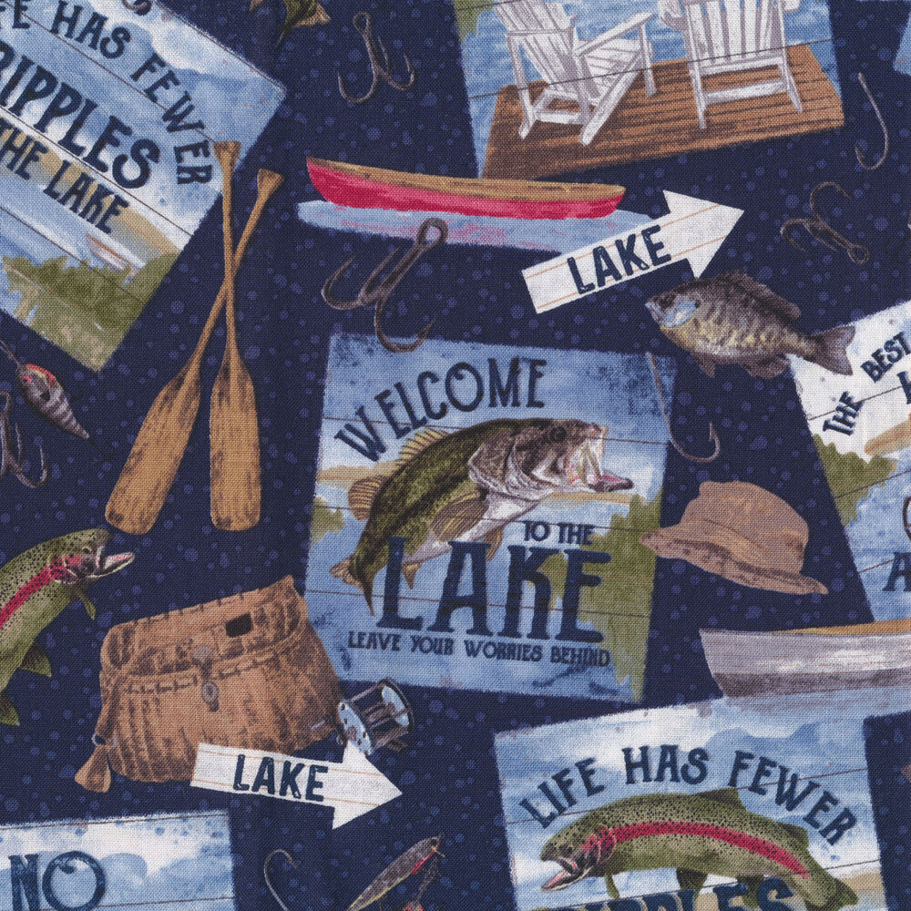 Fish, fishing signs, and lures on a navy dotted background  | Shabby Fabrics