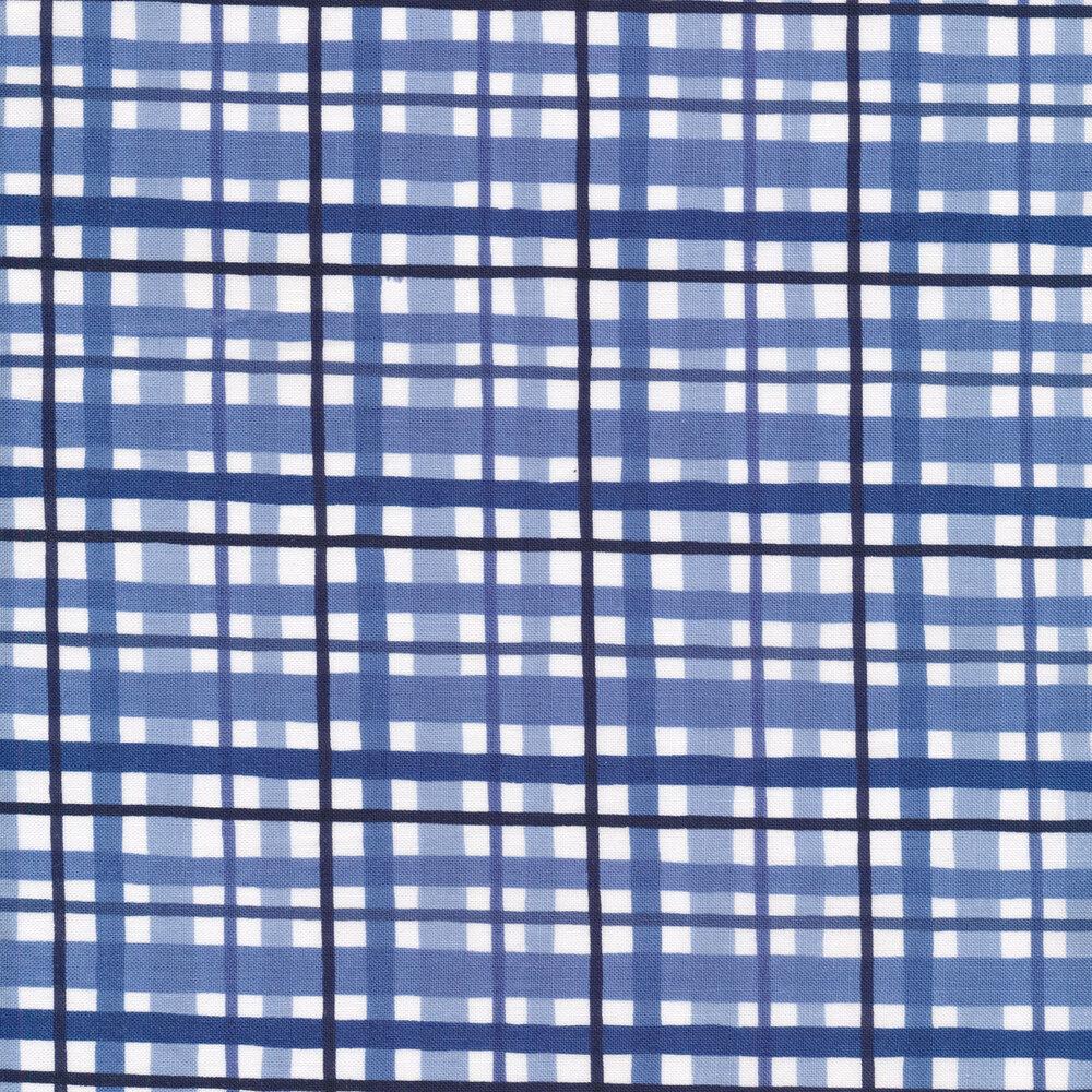Blue gingham stripes on white   Shabby Fabrics