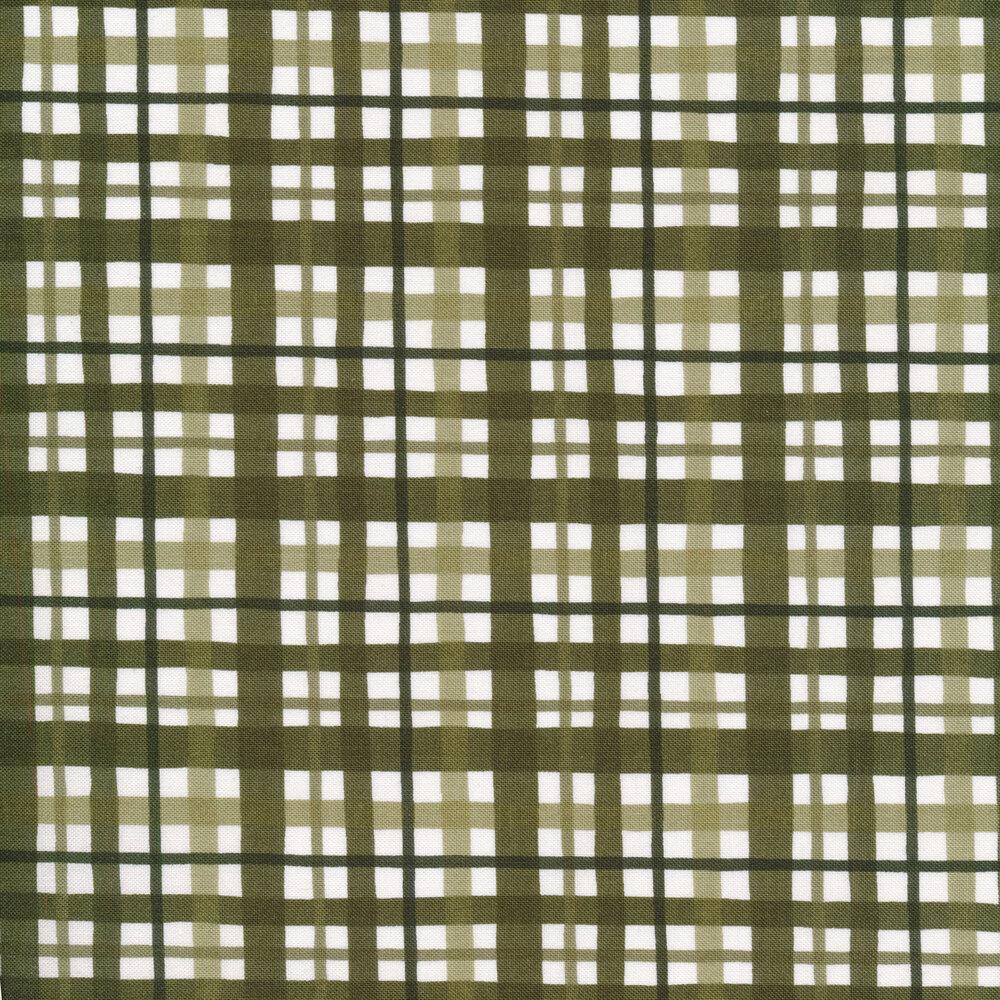 Green gingham stripes on white   Shabby Fabrics