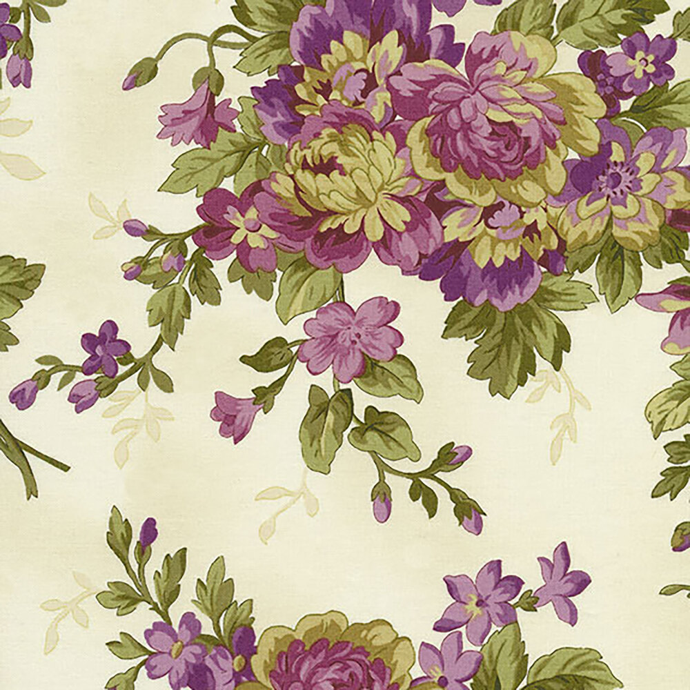 Aubergine 9151-E Ivory Elegant Floral for Maywood Studio