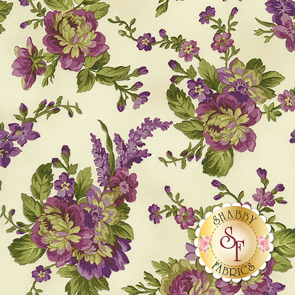 Aubergine 9152-E Ivory Floral Bouquets for Maywood Studio