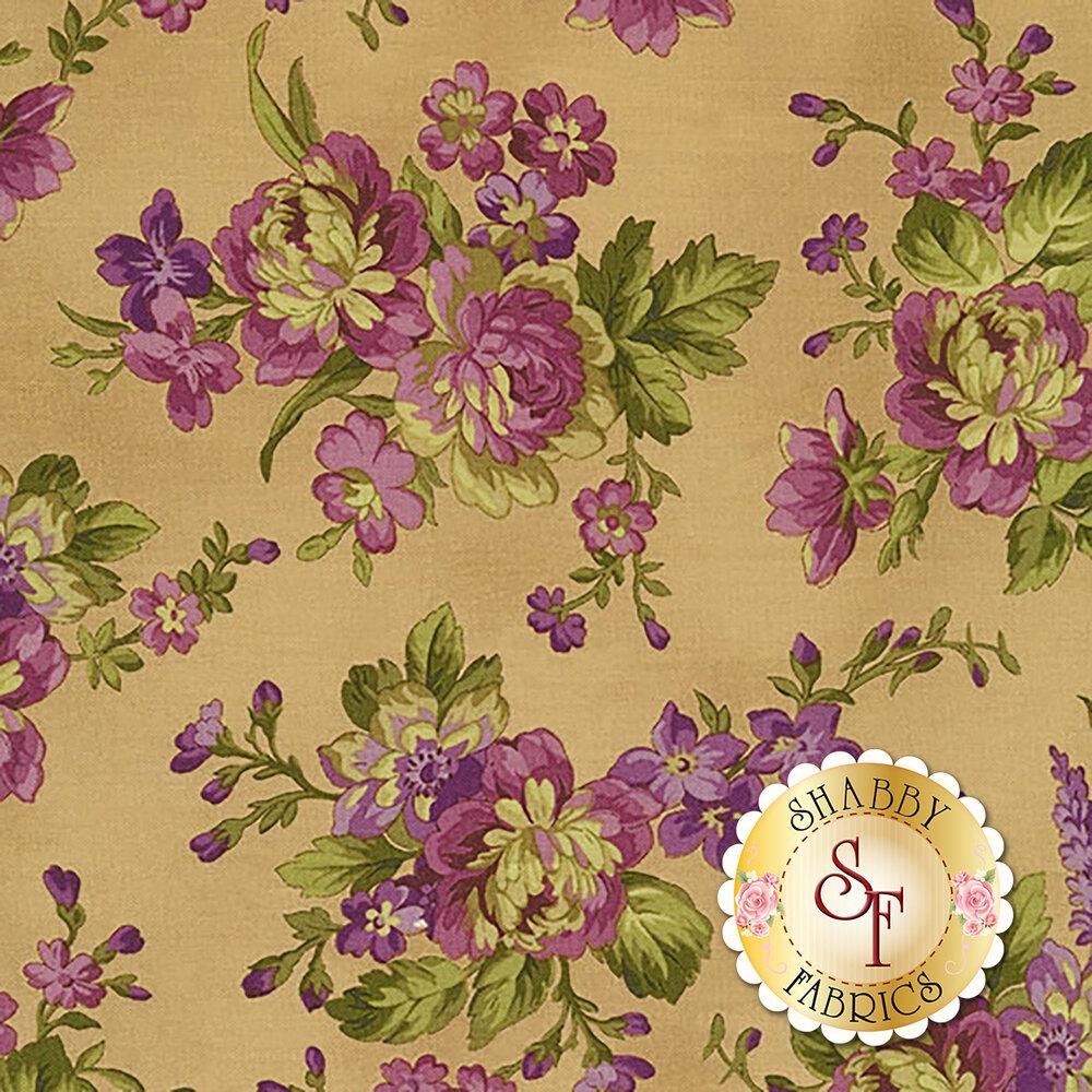 Elegant purple flowers on a dark tan background