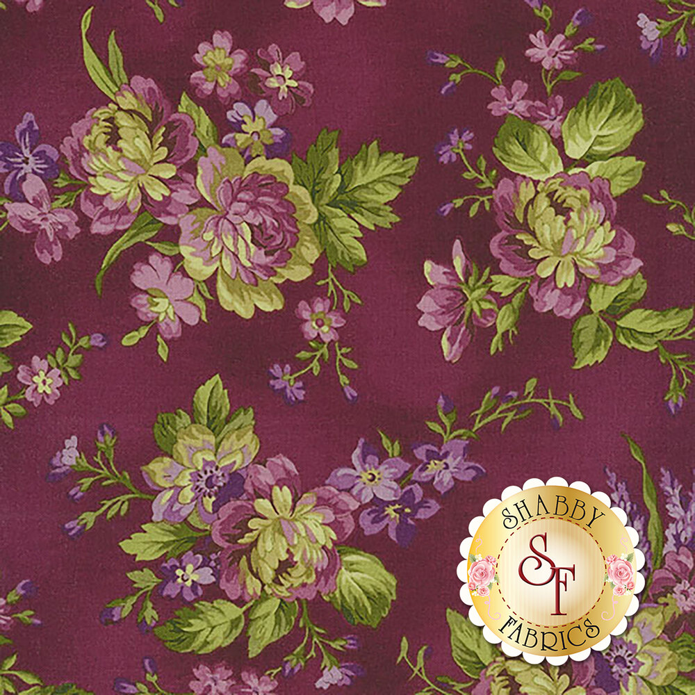 Elegant purple flowers with green leaves on a dark purple background