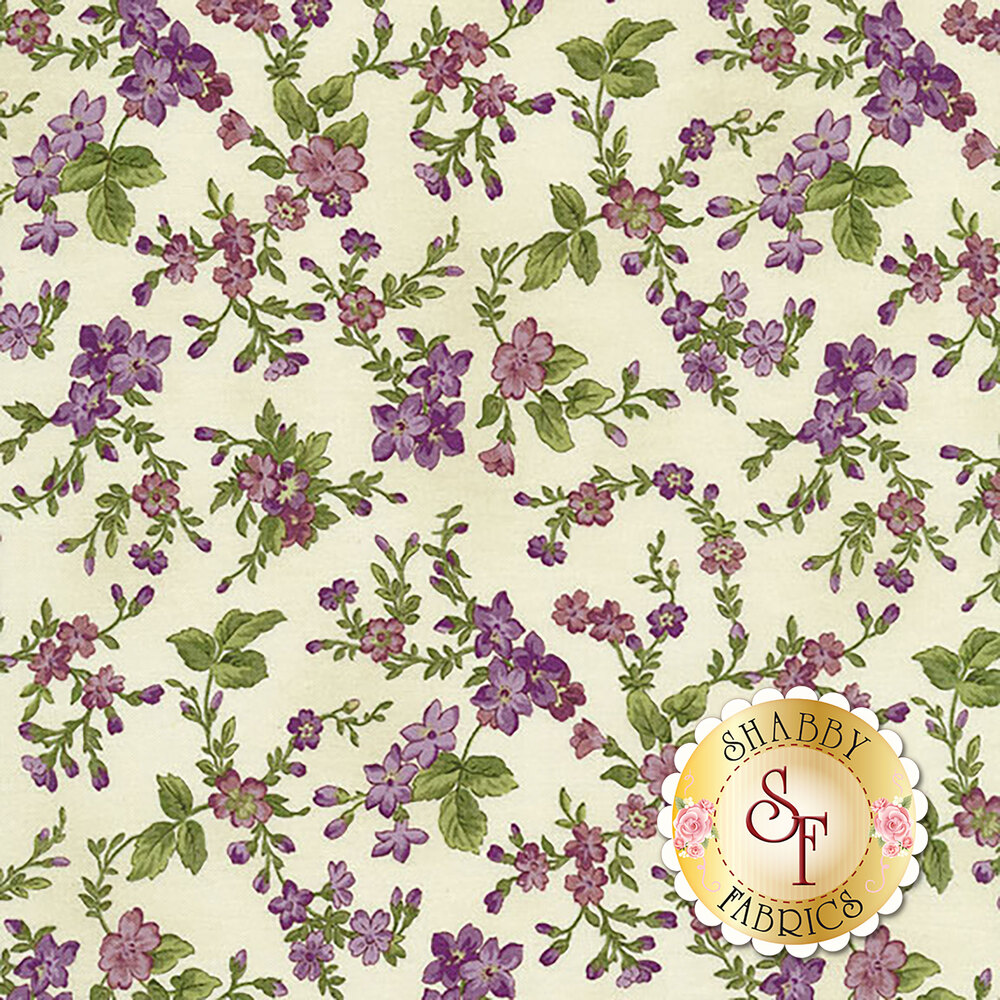 Aubergine 9153-E Ivory Trailing Flowers for Maywood Studio